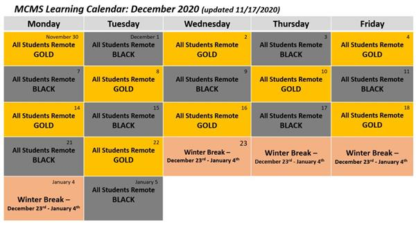 Updated December Learning Calendar (updated 11/18/2020)