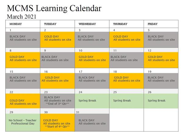 March Learning Calendar
