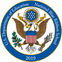 Logo of 2019 National Blue Ribbon Schools, U.S. Department of Education.