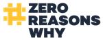 Graphic logo for Zero Reasons Why community campaign to prevent teen suicide