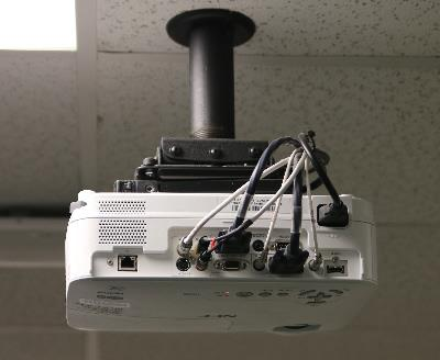 Photo of classroom projector utilizing legacy audio visual connections.