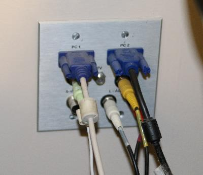 Photo of legacy audio visual connections for classroom technology.