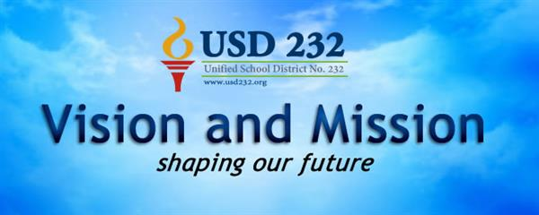 Graphic for USD 232 Vision and Mission - shaping our future