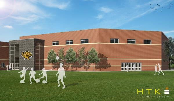 Exterior rendering of competition gym.