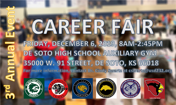 Graphic announcing Career Fair for students, Dec. 6, 2019.