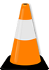 image of orange traffic cone with a black base