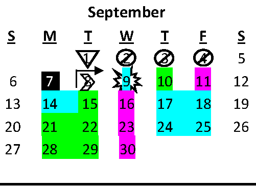 Graphic showing month of September with color-coded days identifying A, B, and C days.