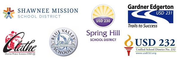 Graphic of all logos from the six Johnson County school districts.