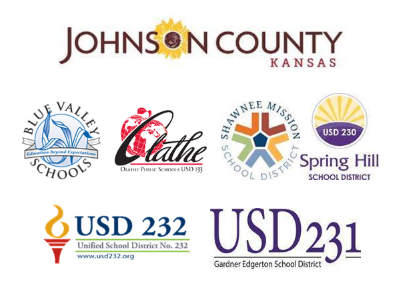 Logos for Johnson County government and all six school districts.
