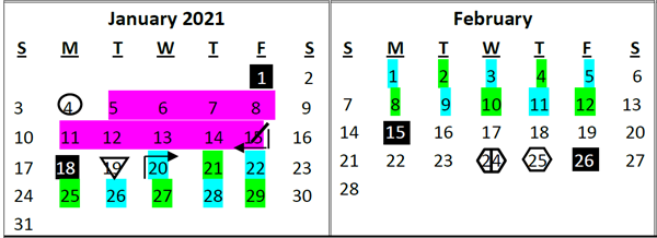 Calendar showing the months of January and February, color coded to reflect a hybrid schedule.