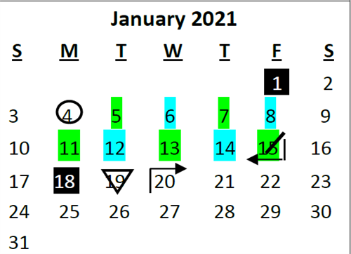 Calendar graphic showing the month of January 2021; color-coded showing a hybrid schedule.