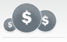 Graphic of circles with dollar signs symbolic of cost savings.