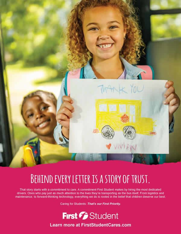 Image of student holding a drawing to thank school bus drivers.