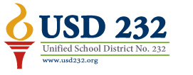 Logo of the school district, USD 232, Unified School District No. 232.